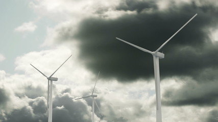 Wind Generators and Clouds Time Lapse