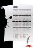 Calendar 2013 with American holidays. Months. Vector illustratio