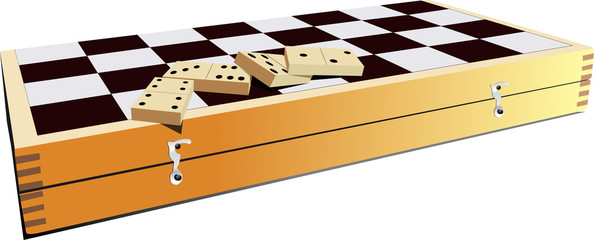 Chessboard and domino pieces. Vector illustration