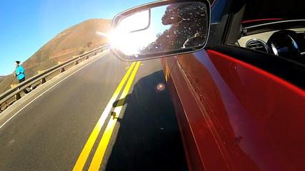 Cabriolet Car Driving Coastal Highway
