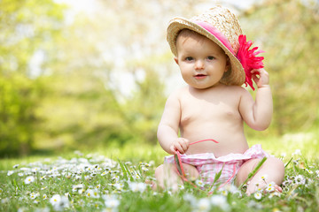 Baby Girl In Summer Dress Sitting In Field Wearing Straw Hat
