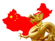 Chinese golden dragon and Chinese flag on the map - 43938365