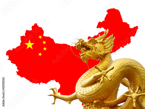 Leinwandbild Motiv Chinese golden dragon and Chinese flag on the map