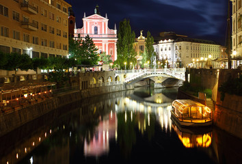 Ljubljana at night, with the Triple Bridge Slovenia