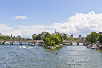 "Seine River, Cite Island, bridge ""Pont Neuf"". Paris, France"