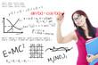 College student write math formula