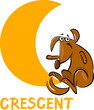 crescent shape with cartoon dog