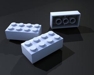 3D White lego blocks