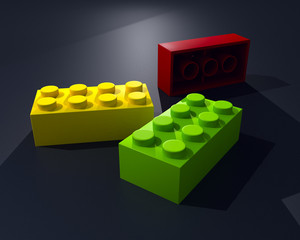 3D three lego blocks