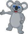 Happy koala cartoon showing