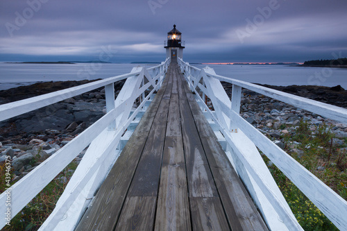 Wall mural Marshall Point Lighthouse at sunset, Maine, USA