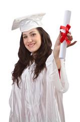 Happy graduate on white background