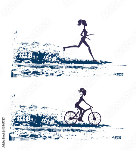 silhouette of marathon runner and cyclist race - abstract backgr
