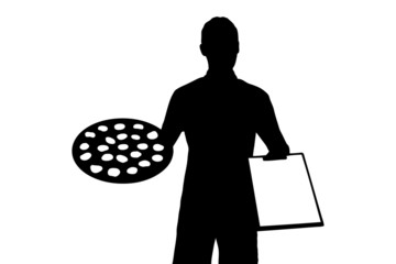 Illustration of a delivery boy with clipboard delivering a peppe