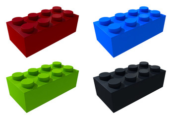 3D lego blocks isolated