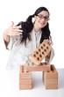 Woman karate breaking bricks on white