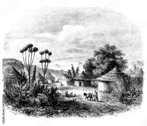 African Village Drawing Traditional African Village