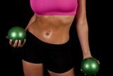 woman sports bra sweat green balls