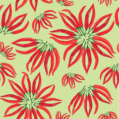 seamless pattern with peppers on light green background, Print