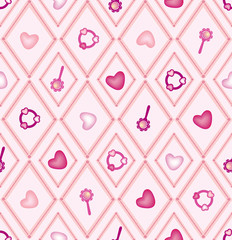 seamless pattern with child toys on gentle pink background