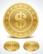 Dollars money coins in perspective vector design elements