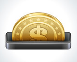 Dollars money coin in perspective vector design elements