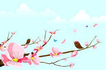 vector illustration of birds sitting on flral tree in spring