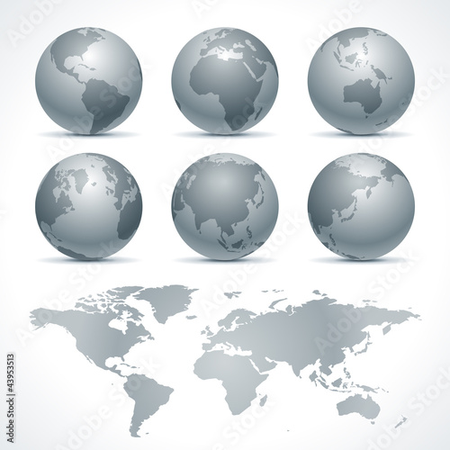 Staande foto Wereldkaart Globe earth icons set and continents vector design elements