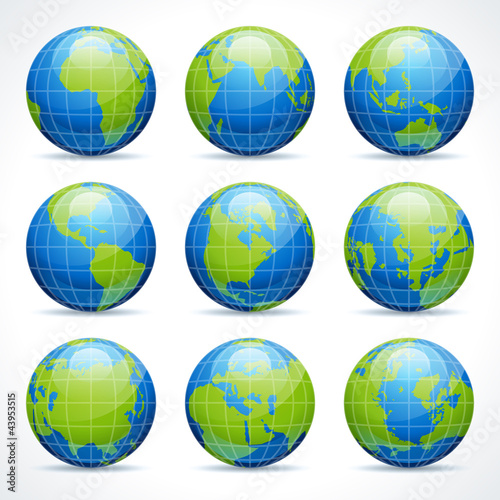 Globe earth icons set and continents vector design elements