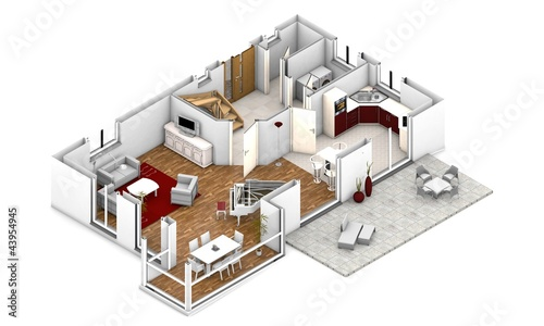 Moderne villa grundriss 3d  Fototapete 3d grundriss perspektive - Dreidimensional • PIXERS.de