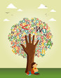 Learn to read at school education tree hand