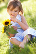 Young Girl Sitting In Summer Field Holding Sunflower