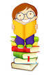 vector illustration of school boy reading on pile of books