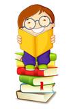 vector illustration of school boy reading on pile of books
