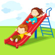 vector illustration of kids enjoying on slide
