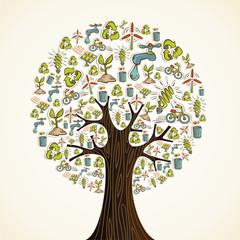 Go Green icons tree
