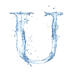 "Water splashes letter ""U"" isolated on white background"