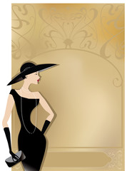 Lady in black at vintage poster
