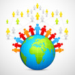 vector illustration of human around globe social networking