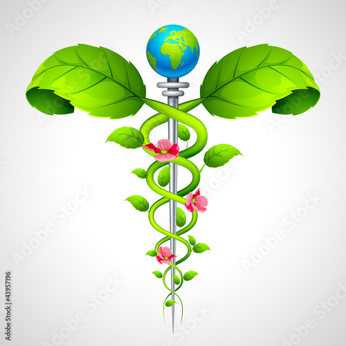 vector illustration of medical Caduceus sign with leaf