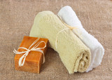 natural handmade soap and towels
