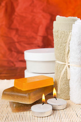 set of items prepared for the spa treatments