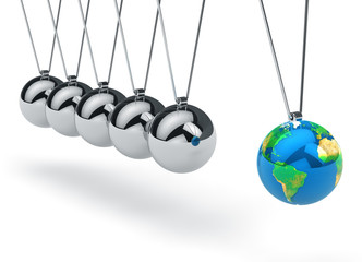 Newton's cradle with Earth globe