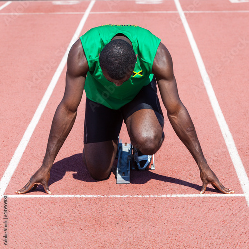 Male Track and Field Athlete before the Race Start