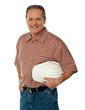 Smiling senior architect holding white safety hat