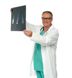 Smiling doctor in glasses reviewing x-ray report