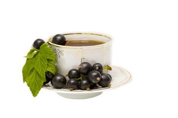 Cup of herbal tea and black curran