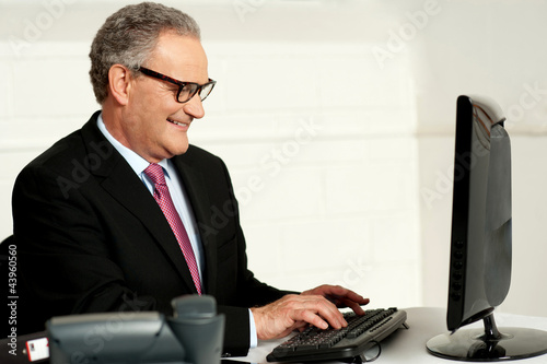 Cheerful aged man working on computer