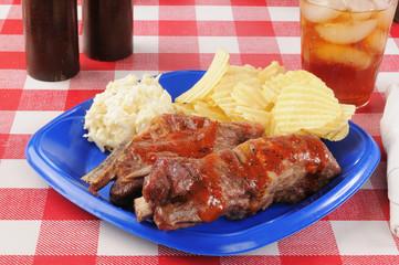 Pork ribs and coleslaw