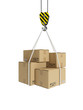 3d illustration: Cargo transportation, crane hook, and cardboard